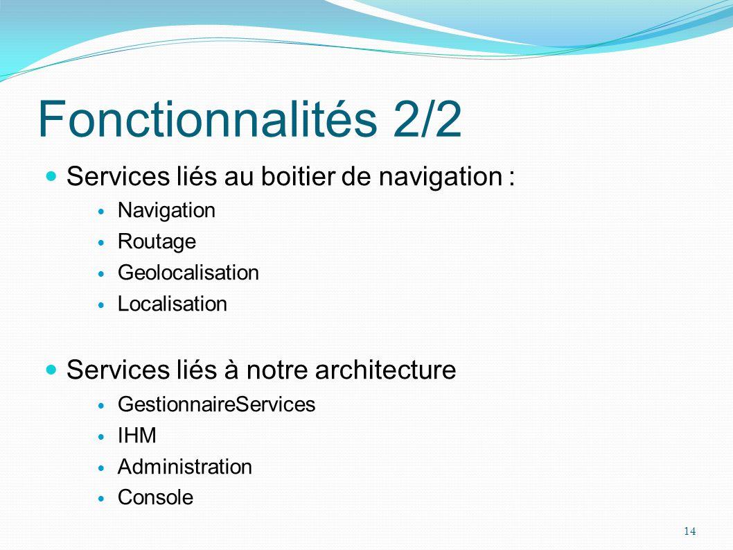 Fonctionnalités 2/2 Services liés au boitier de navigation :