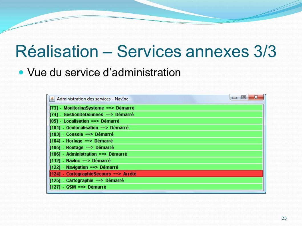 Réalisation – Services annexes 3/3