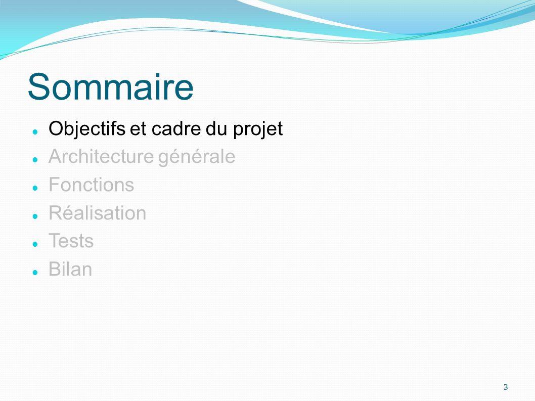 Sommaire Objectifs et cadre du projet Architecture générale Fonctions