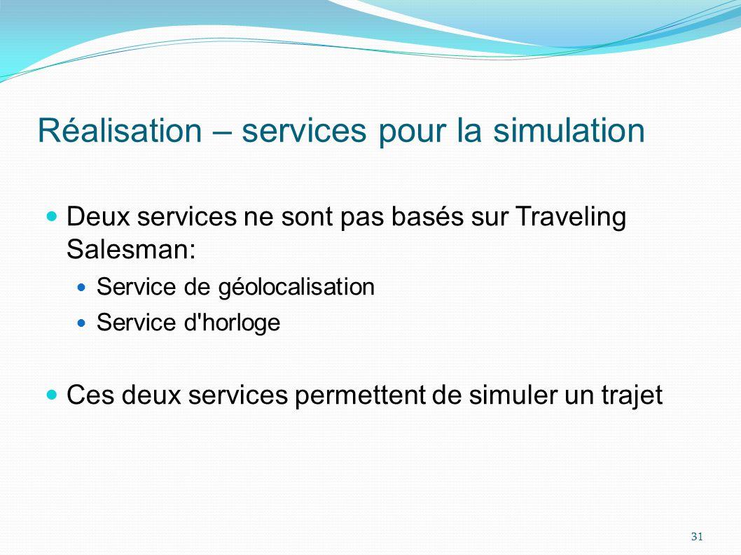 Réalisation – services pour la simulation
