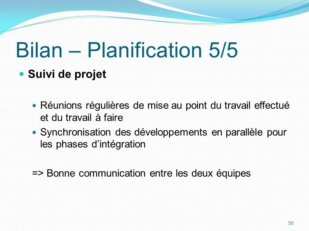 Bilan – Planification 5/5