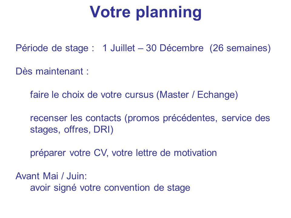 Votre planning Période de stage : 1 Juillet – 30 Décembre (26 semaines) Dès maintenant : faire le choix de votre cursus (Master / Echange)