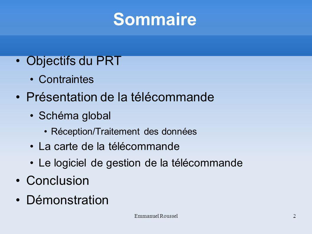 Sommaire Objectifs du PRT Présentation de la télécommande Conclusion