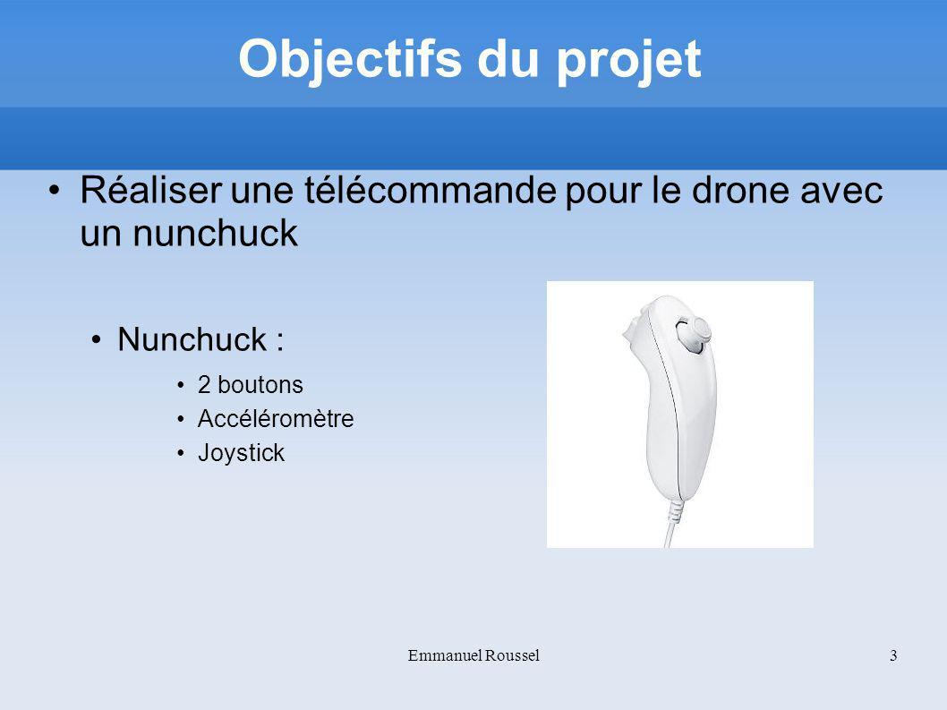 Objectifs du projet Réaliser une télécommande pour le drone avec un nunchuck. Nunchuck : 2 boutons.