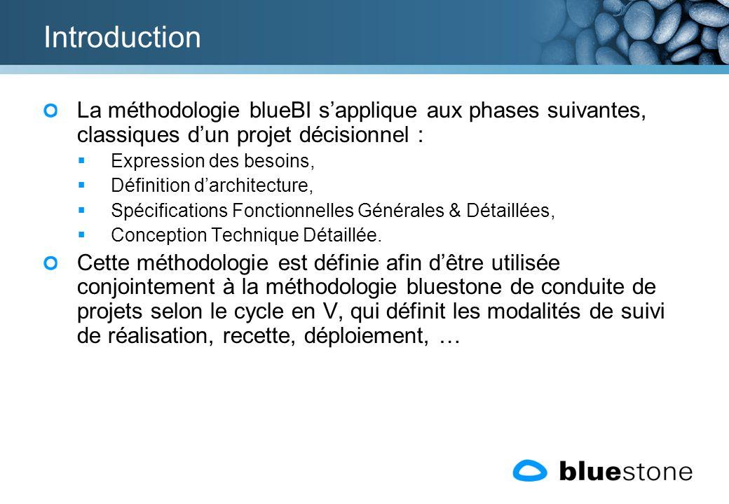 Introduction La méthodologie blueBI s'applique aux phases suivantes, classiques d'un projet décisionnel :