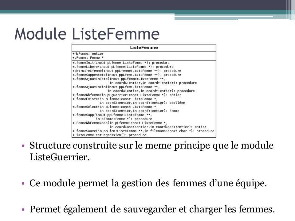 Module ListeFemme Structure construite sur le meme principe que le module ListeGuerrier. Ce module permet la gestion des femmes d'une équipe.