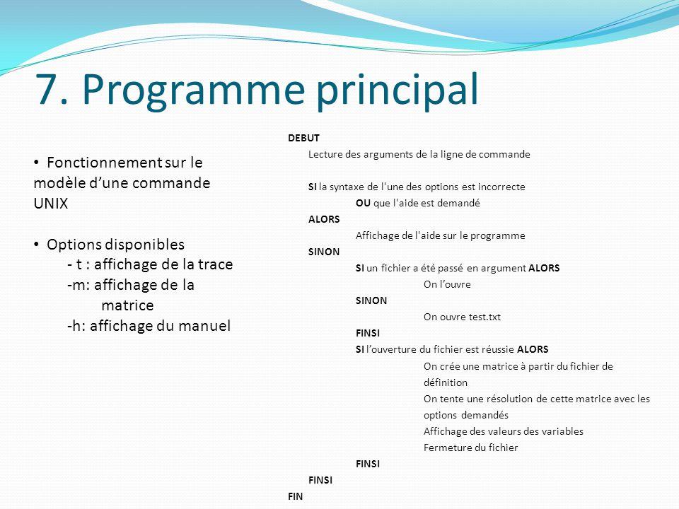 7. Programme principal
