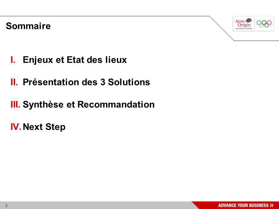 Sommaire Enjeux et Etat des lieux Présentation des 3 Solutions Synthèse et Recommandation Next Step
