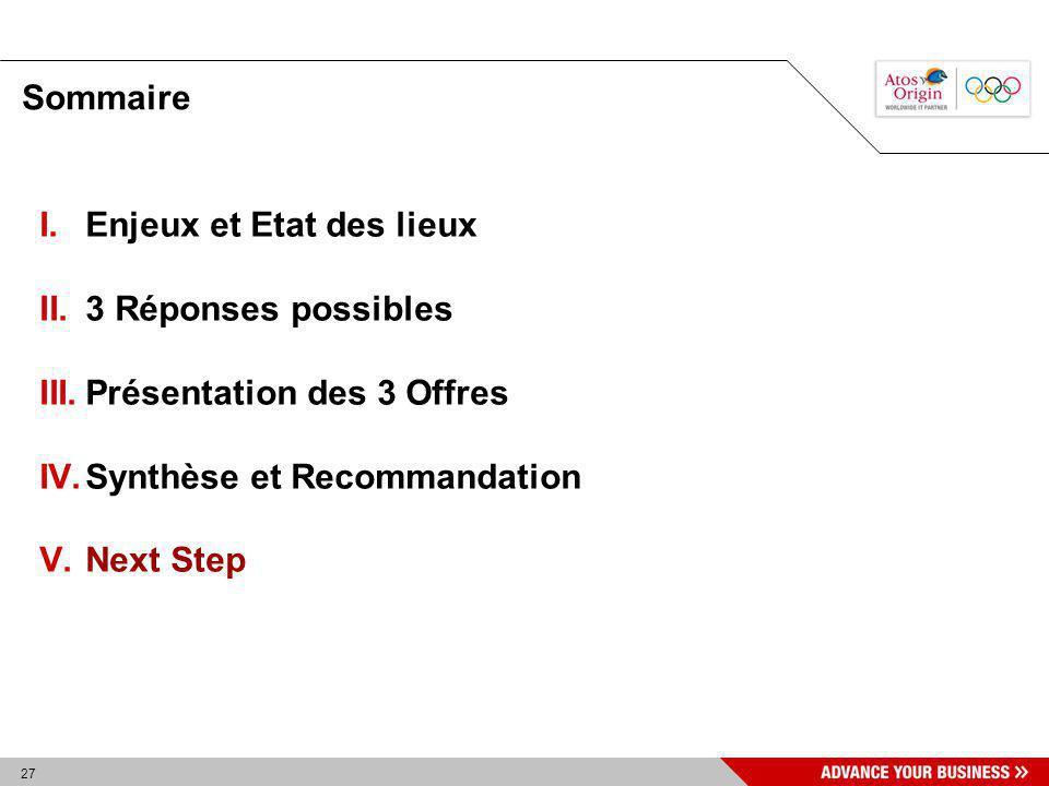 Sommaire Enjeux et Etat des lieux. 3 Réponses possibles. Présentation des 3 Offres. Synthèse et Recommandation.
