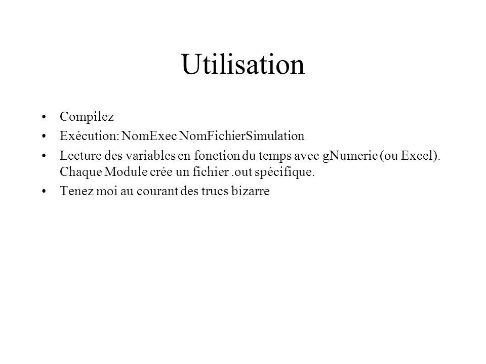 Utilisation Compilez Exécution: NomExec NomFichierSimulation