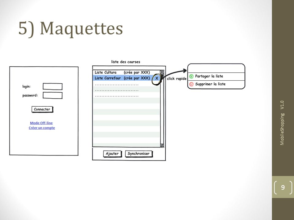 5) Maquettes MobileShopping V1.0 9 9