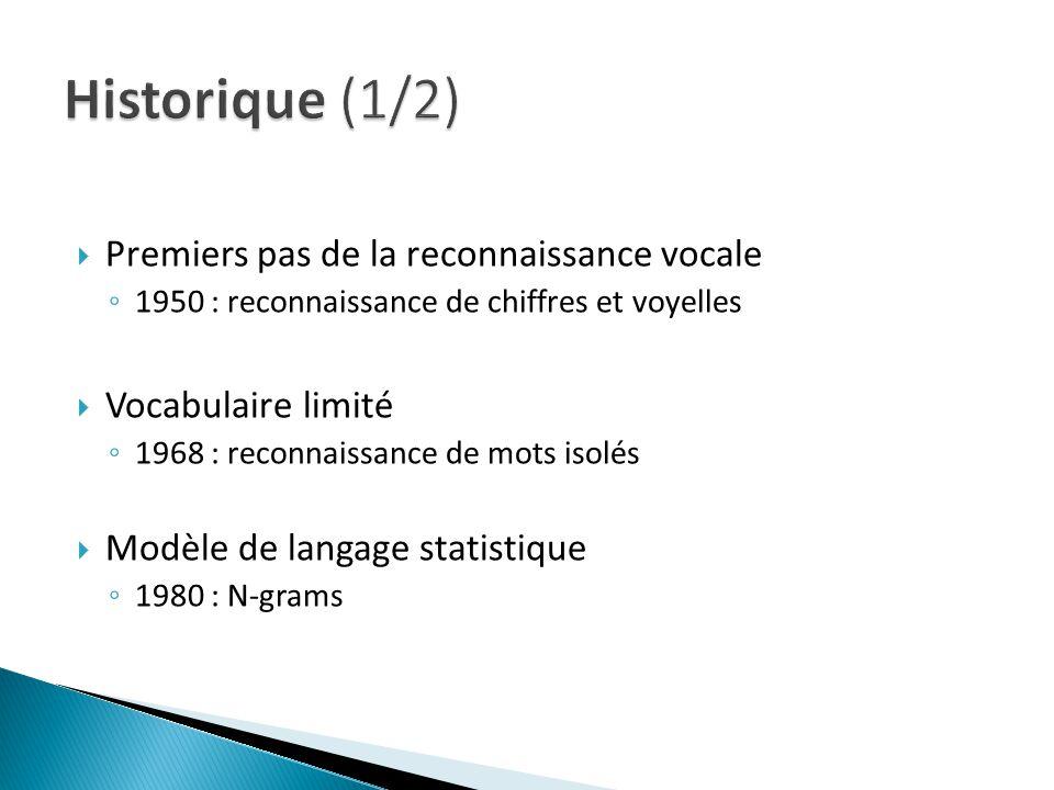 Historique (1/2) Premiers pas de la reconnaissance vocale