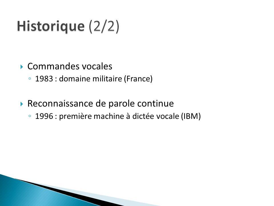 Historique (2/2) Commandes vocales Reconnaissance de parole continue