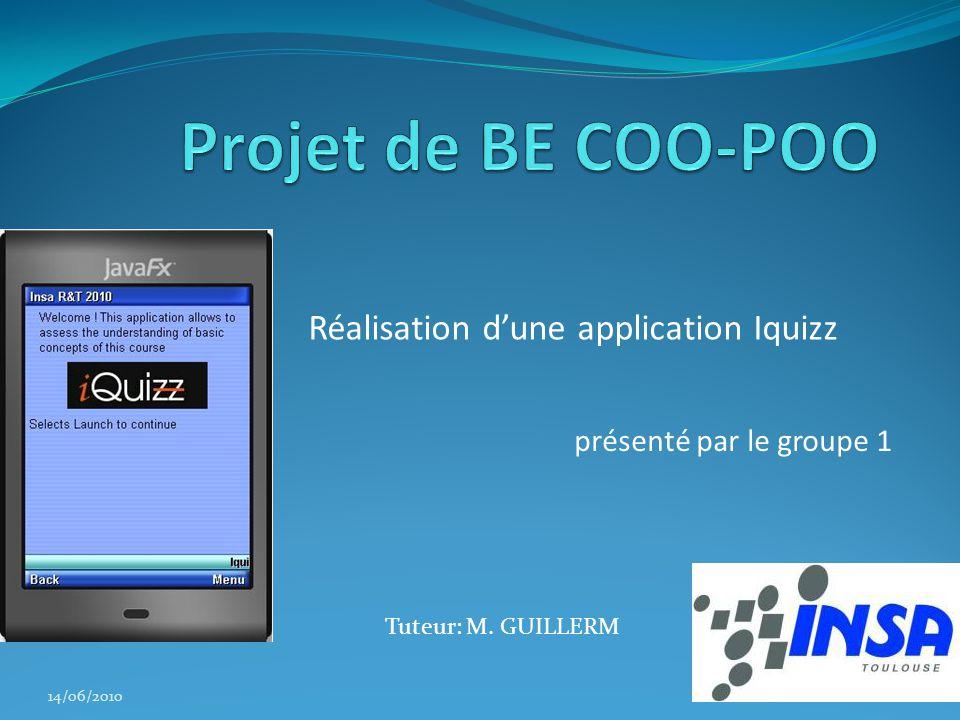 Projet de BE COO-POO Réalisation d'une application Iquizz