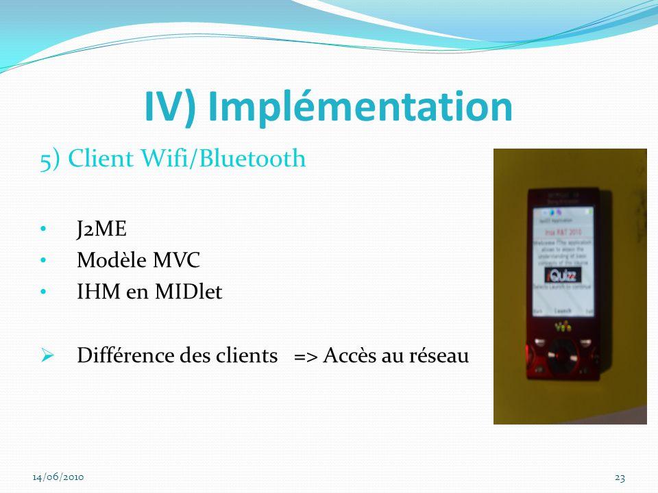IV) Implémentation 5) Client Wifi/Bluetooth J2ME Modèle MVC