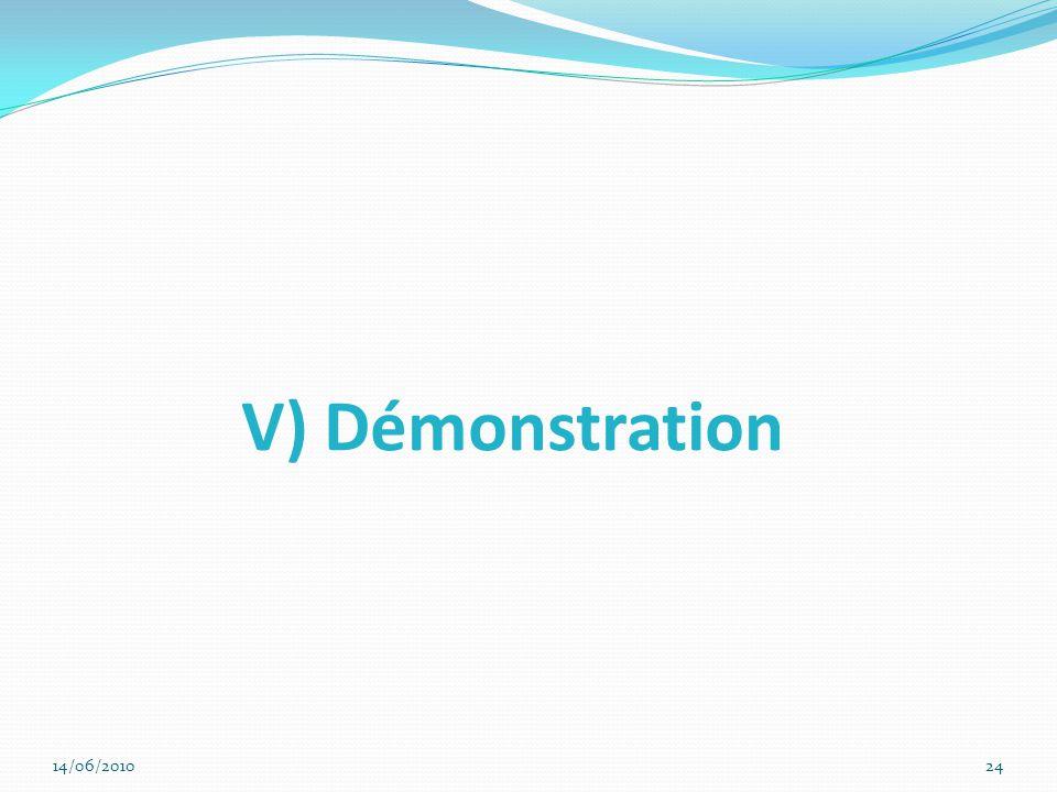 V) Démonstration Conclusion et introduire la démo 14/06/2010