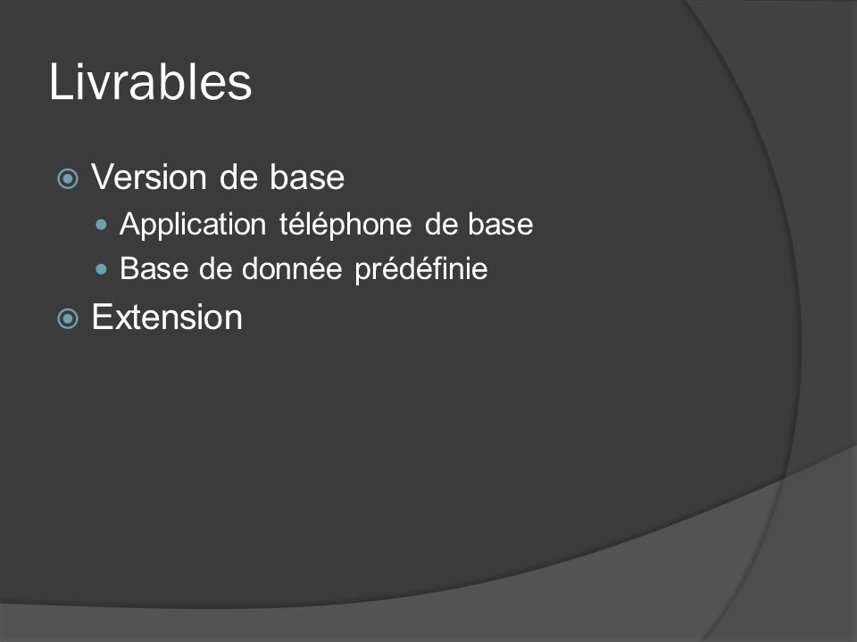Livrables Version de base Extension Application téléphone de base