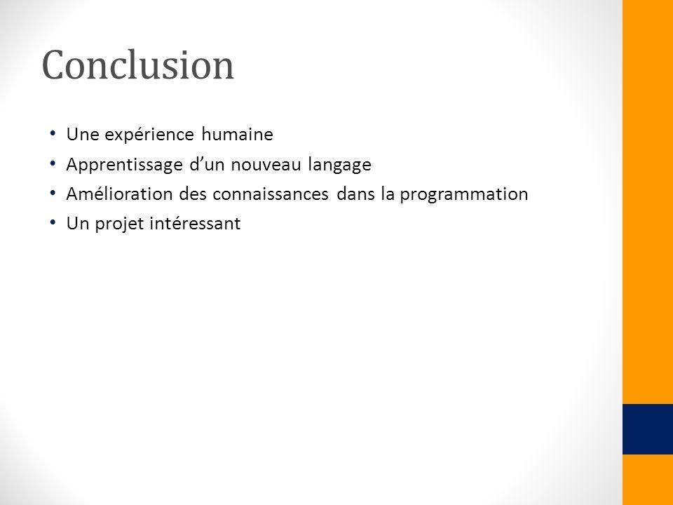 Conclusion Une expérience humaine Apprentissage d'un nouveau langage