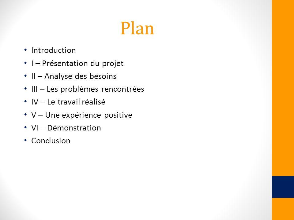 Plan Introduction I – Présentation du projet II – Analyse des besoins