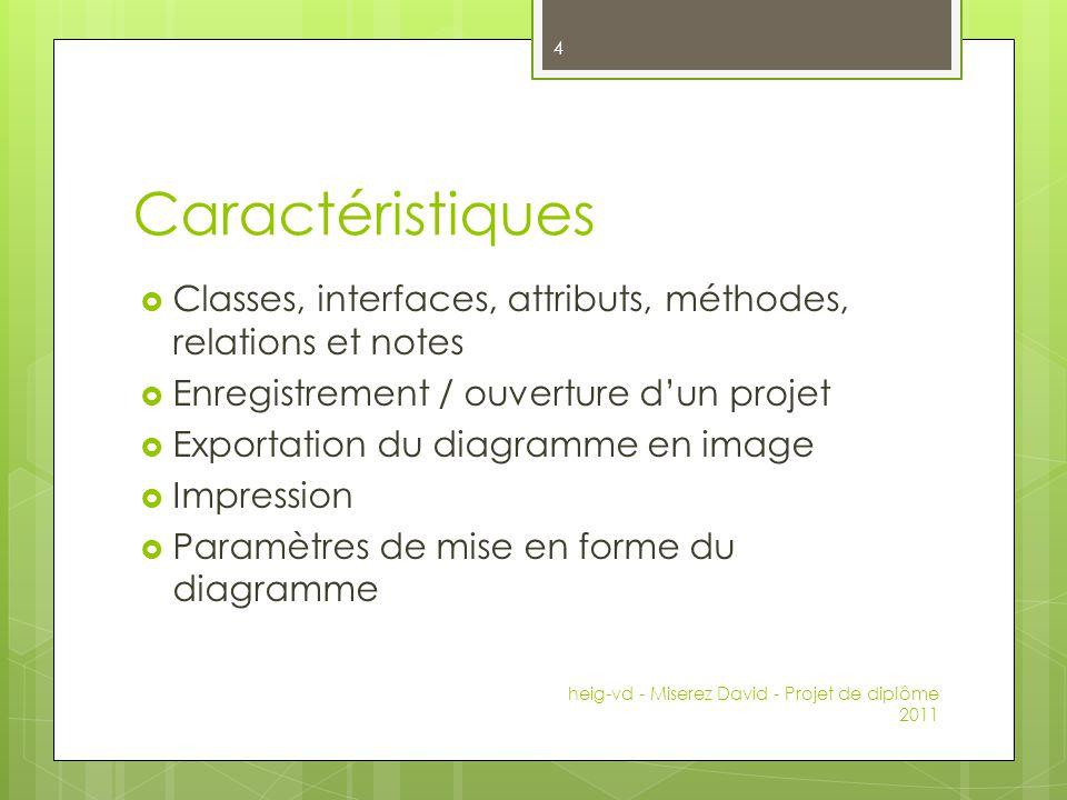 Caractéristiques Classes, interfaces, attributs, méthodes, relations et notes. Enregistrement / ouverture d'un projet.