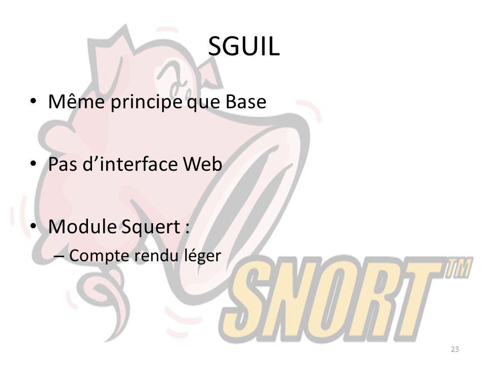 SGUIL Même principe que Base Pas d'interface Web Module Squert :