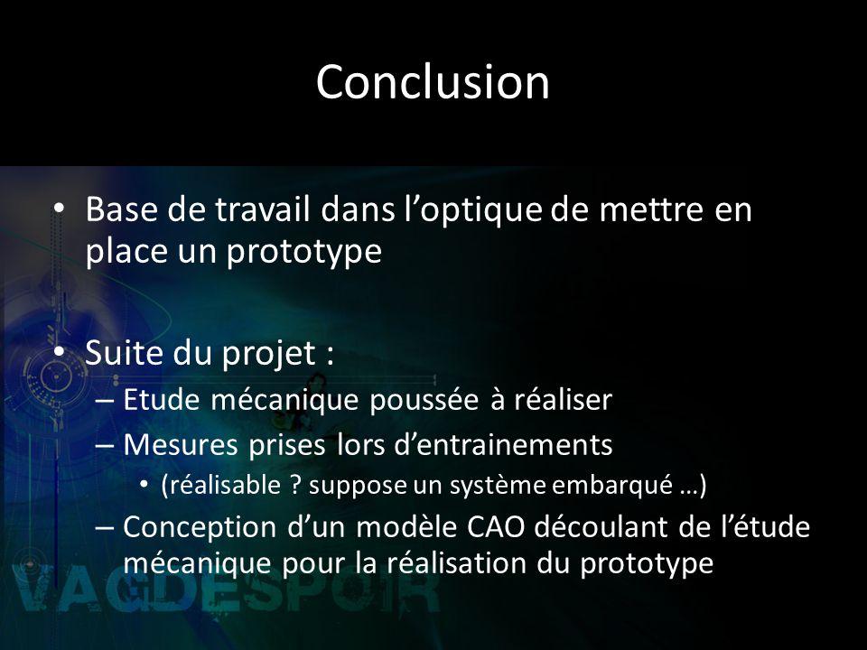 Conclusion Base de travail dans l'optique de mettre en place un prototype. Suite du projet : Etude mécanique poussée à réaliser.