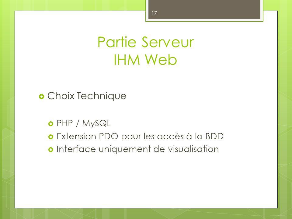 Partie Serveur IHM Web Choix Technique PHP / MySQL