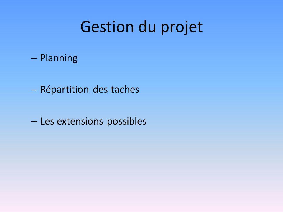 Gestion du projet Planning Répartition des taches