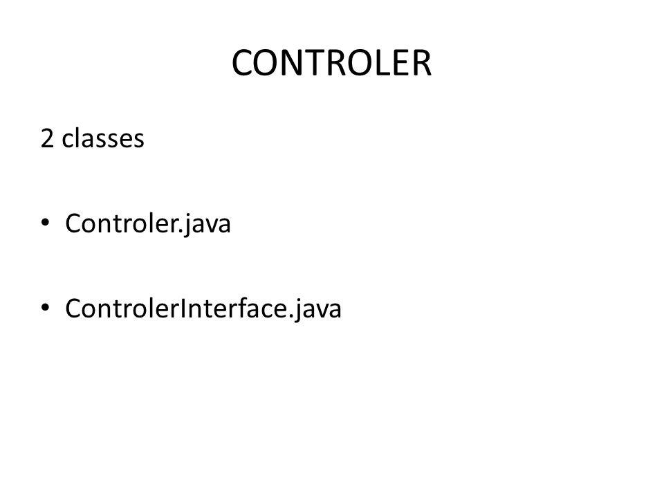 CONTROLER 2 classes Controler.java ControlerInterface.java