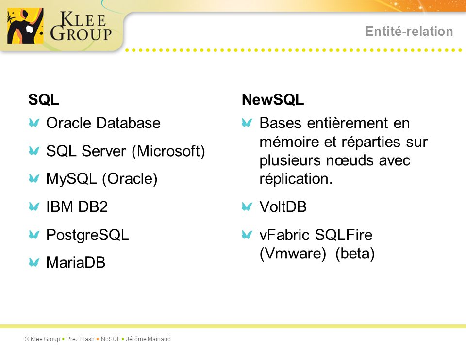 SQL Server (Microsoft) MySQL (Oracle) IBM DB2 PostgreSQL MariaDB
