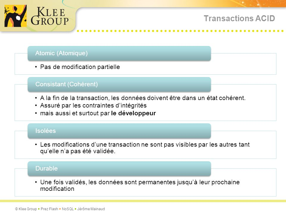 Transactions ACID Pas de modification partielle Atomic (Atomique)