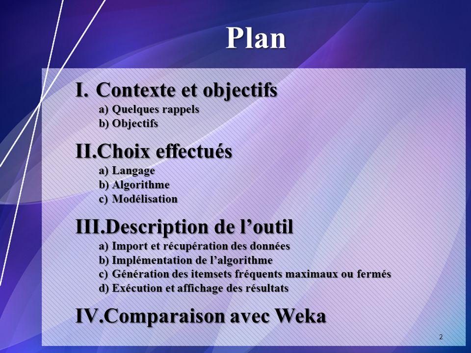 Plan Contexte et objectifs Choix effectués Description de l'outil
