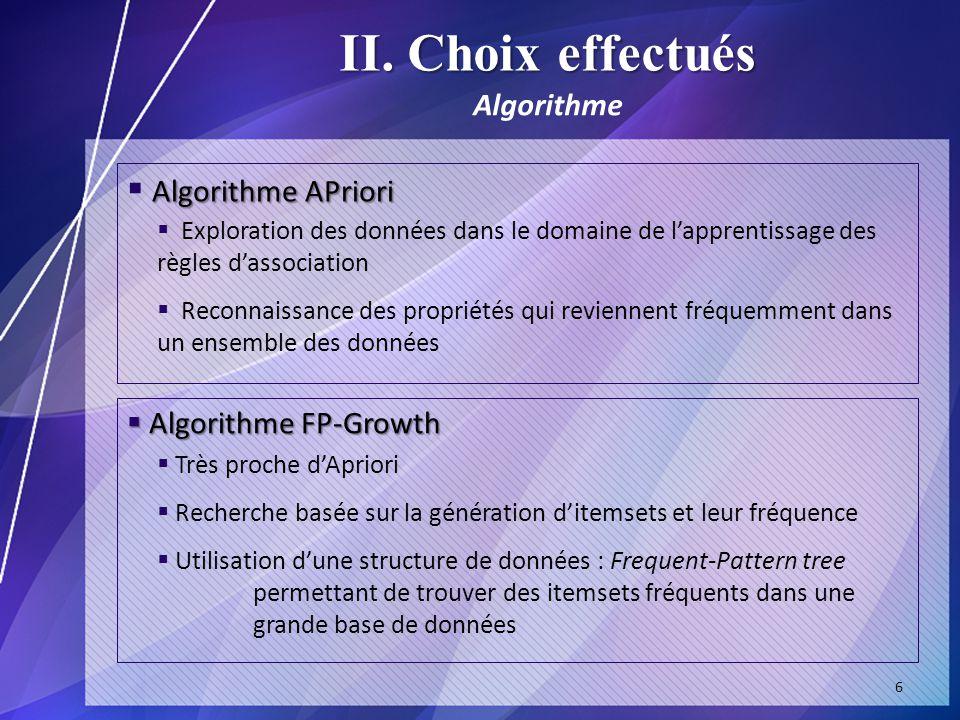 II. Choix effectués Algorithme APriori Algorithme Algorithme FP-Growth