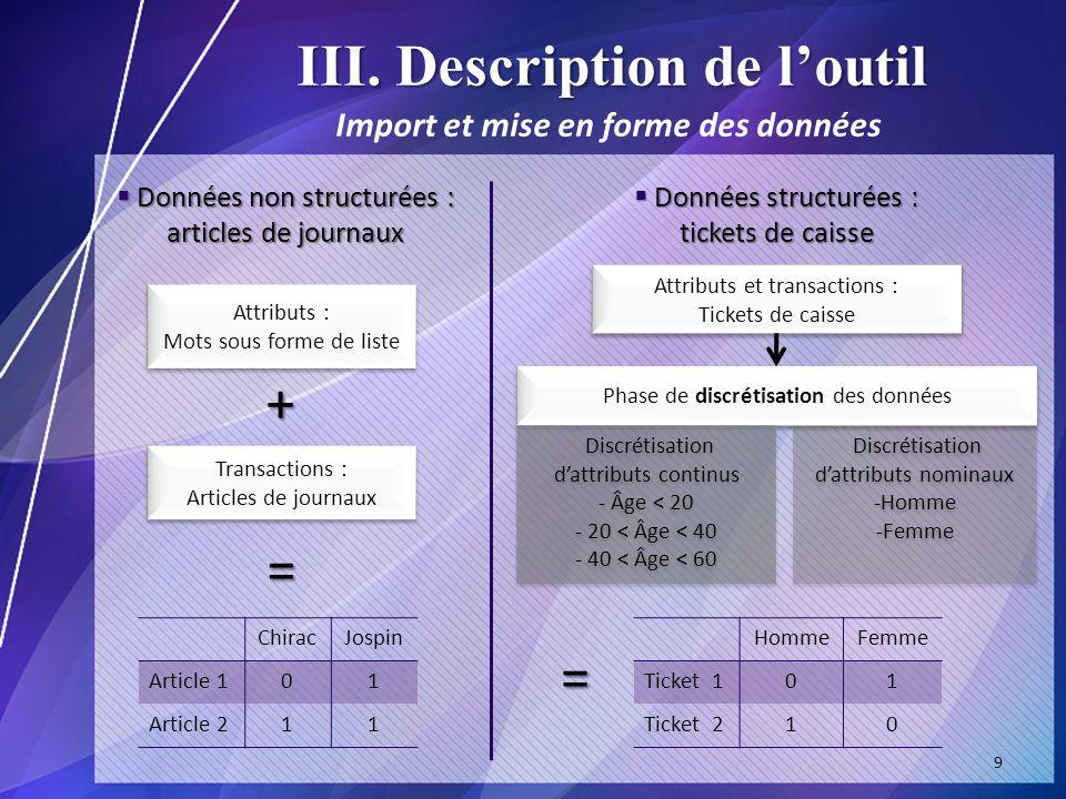 III. Description de l'outil Import et mise en forme des données