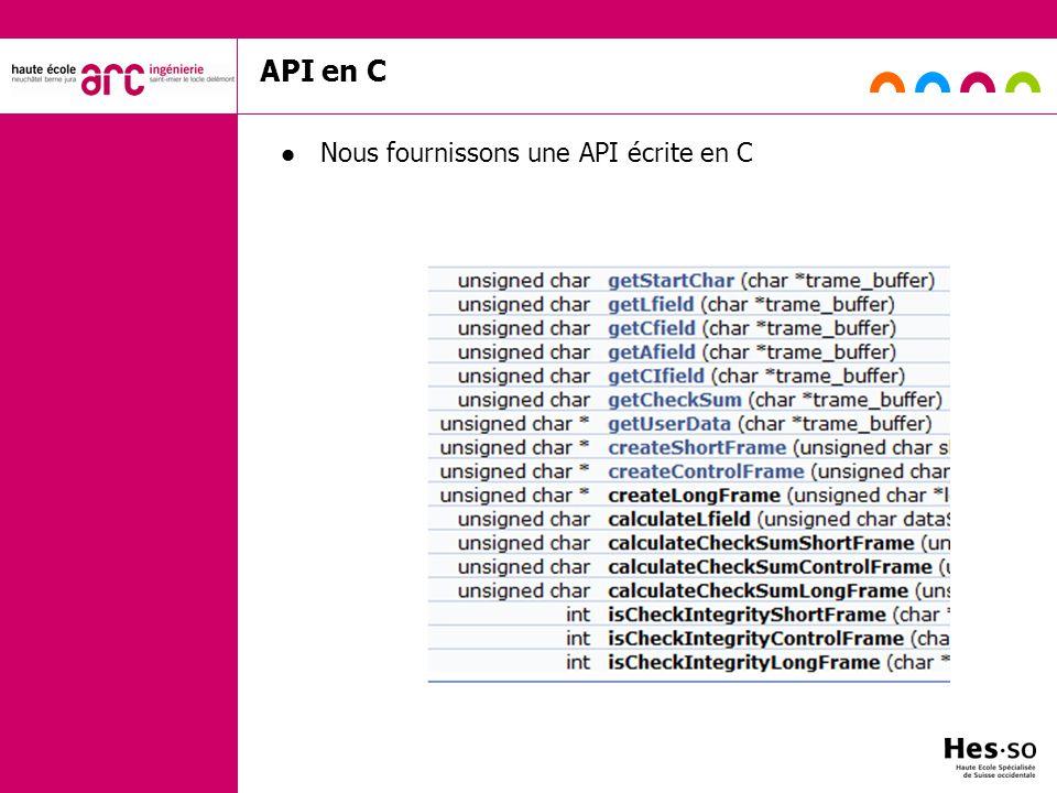 API en C Nous fournissons une API écrite en C s