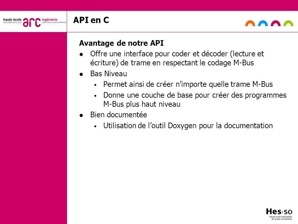 API en C Avantage de notre API