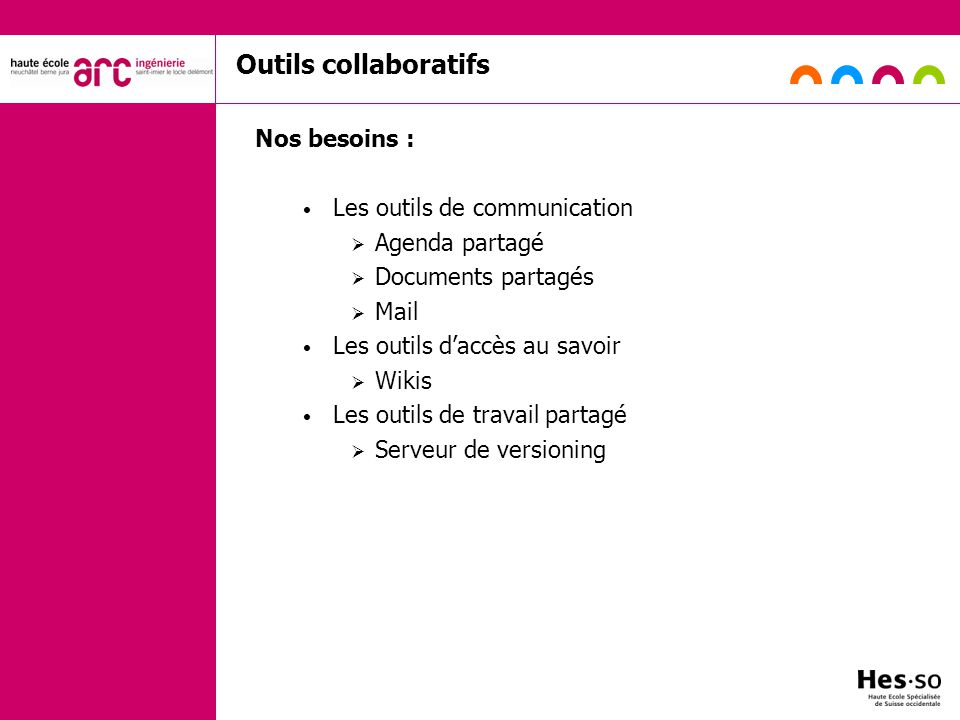 Outils collaboratifs Nos besoins : Les outils de communication
