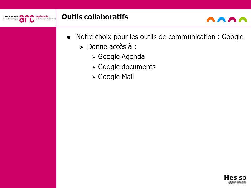 Notre choix pour les outils de communication : Google Donne accès à :