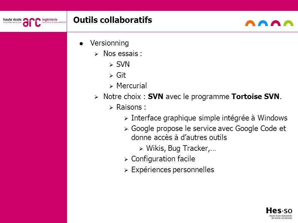 Outils collaboratifs Versionning Nos essais : SVN Git Mercurial