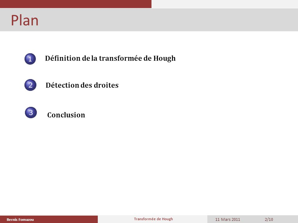 Plan Définition de la transformée de Hough Détection des droites