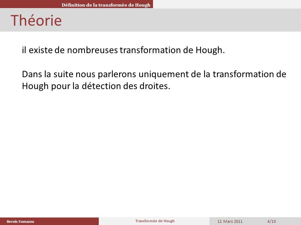 Théorie il existe de nombreuses transformation de Hough.