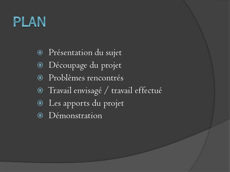 Plan Découpage du projet Problèmes rencontrés
