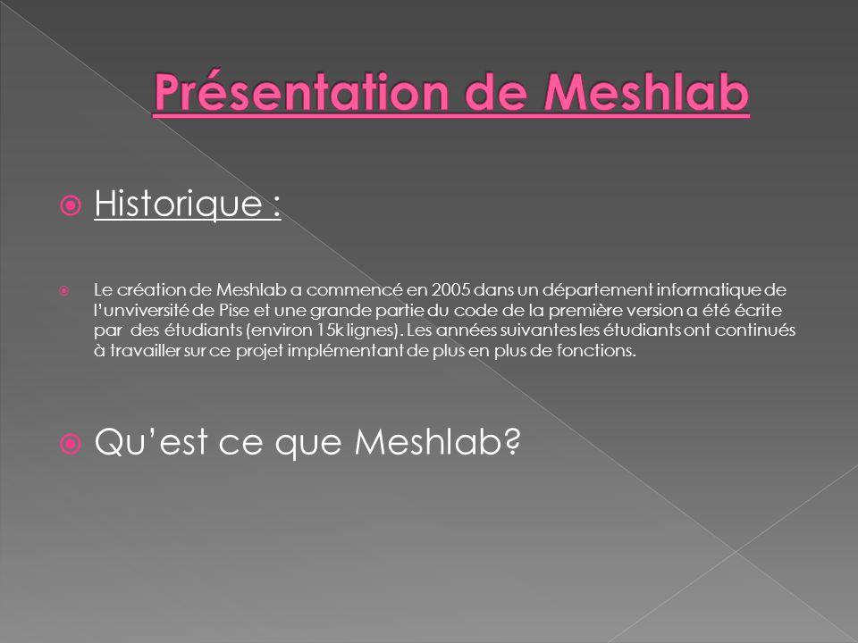 Présentation de Meshlab