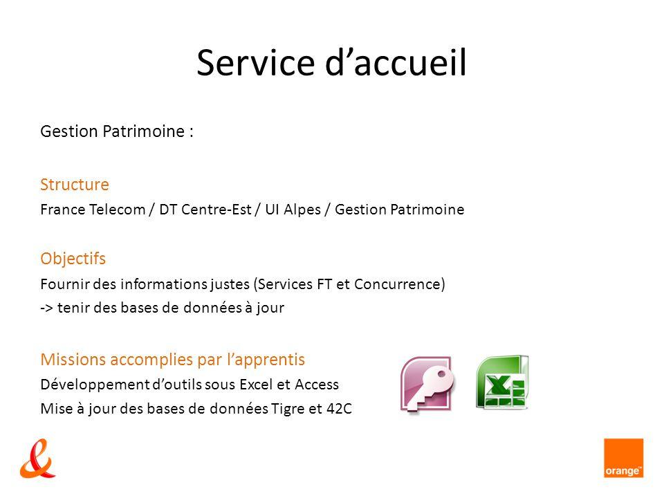 Service d'accueil Gestion Patrimoine : Structure Objectifs