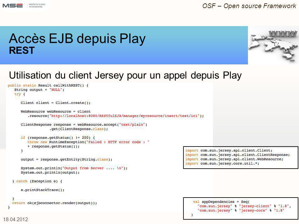 Accès EJB depuis Play REST