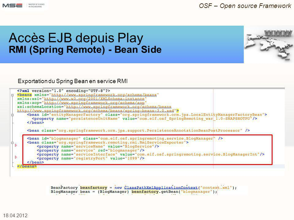 Accès EJB depuis Play RMI (Spring Remote) - Bean Side