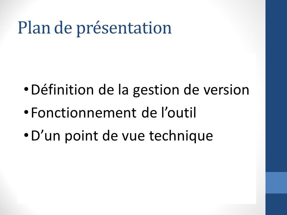 Plan de présentation Définition de la gestion de version