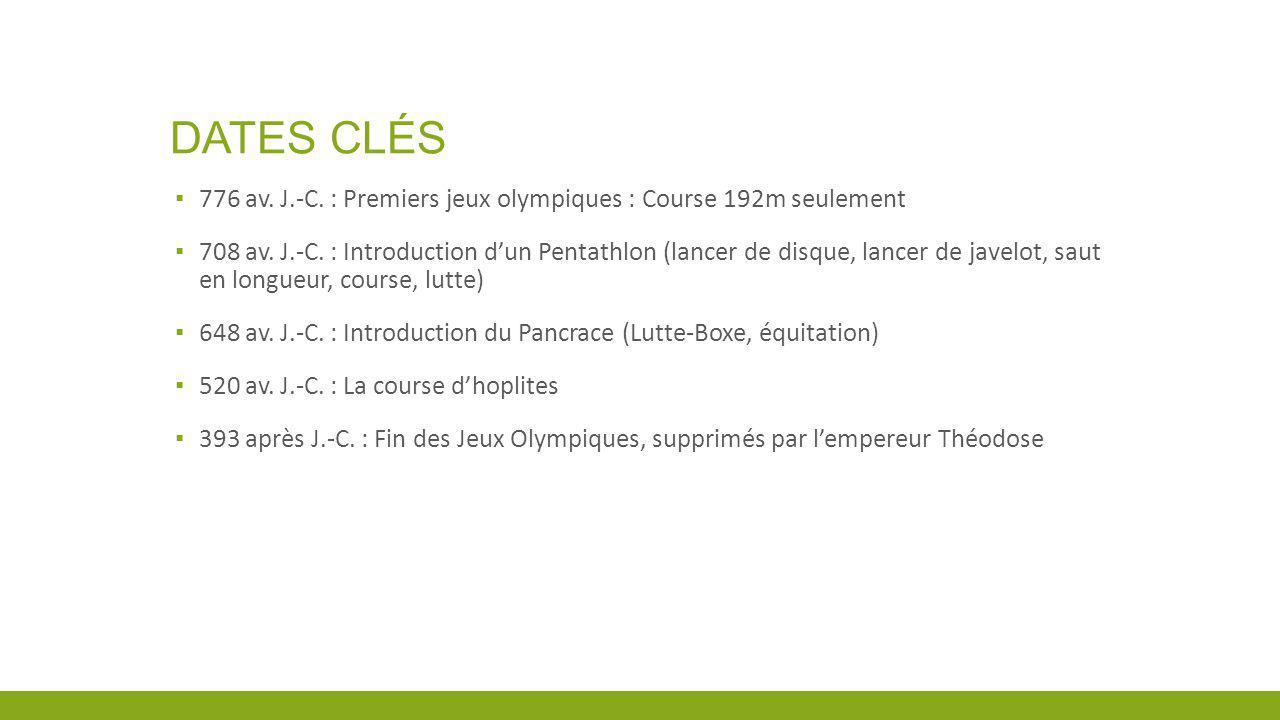 Dates clés 776 av. J.-C. : Premiers jeux olympiques : Course 192m seulement.
