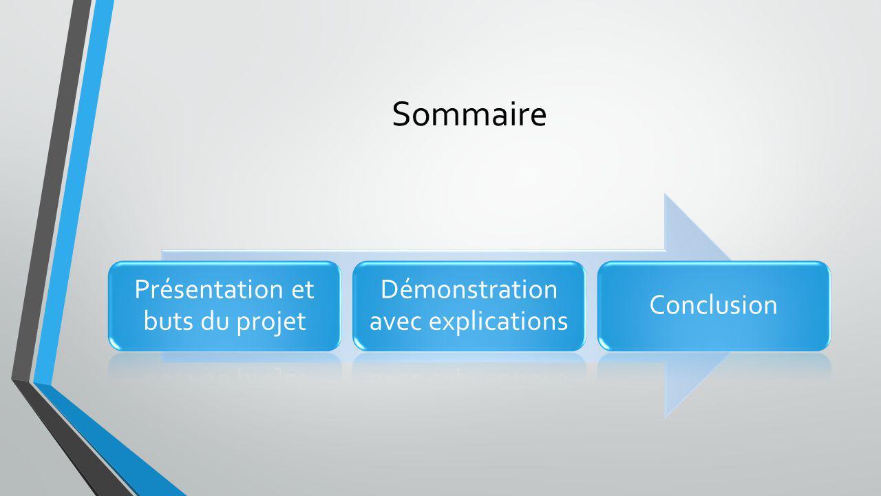 Sommaire Présentation et buts du projet