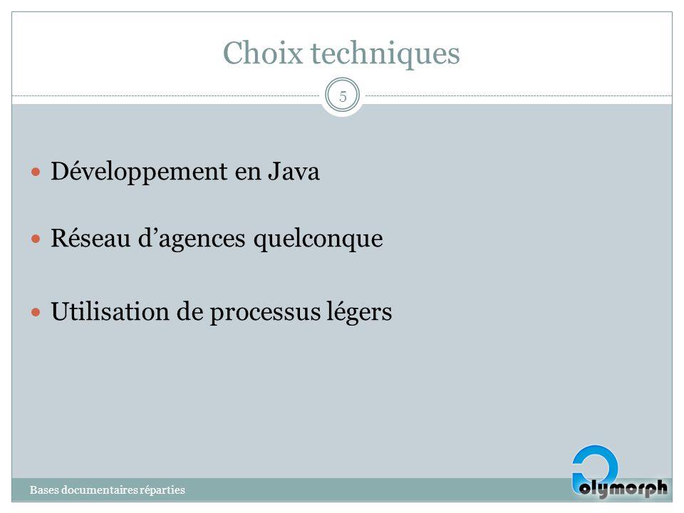 Choix techniques Développement en Java Réseau d'agences quelconque